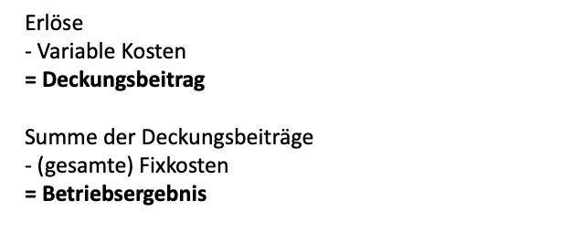 Einstufige Deckungsbeitragsrechnung (DB-Rechnung)